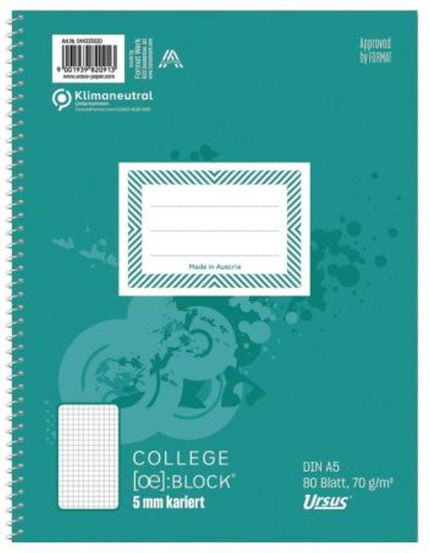 Ursus Basic Collegeblock A5 80 Blatt 70g/qm 5mm kariert
