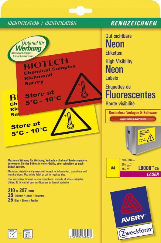 Neon-Etiketten Farbe: neongelb