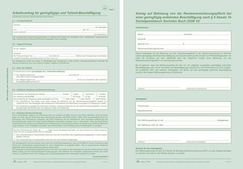 Arbeitsvertrag Geringfügig Beschäftigte Sd 2x2 Blatt