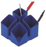 Schreibtisch-Köcher SCALA mit 4 Fächern, blau-schwarz
