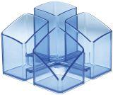 Schreibtisch-Köcher SCALA mit 4 Fächern, transparent-blau