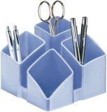 Schreibtisch-Köcher SCALA - 4 Fächern. eisblau