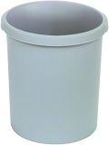 Papierkorb 30 Liter, rund, 2 Griffmulden, extra stabil, lichtgrau