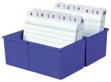 Karteibox DIN A7 quer, für 300 Karten mit Stahlscharnier, blau