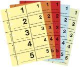Garderobenummern, 1-500=1 Buch, 2x jede Farbe, DIN A6, 100 Blatt