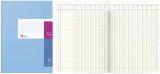 Spaltenbuch A4 in Kopfleisten-Ausführung - blauer Kartonumschlag, Schema über 2 Seiten, 16 Spalten, 40 Blatt