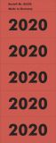 Inhaltsschild 2020 - selbstklebend, 100 Stück, rot