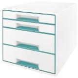 5213 Schubladenbox WOW CUBE - A4/C4. 4 geschlossene Schubladen. perlweiß/eisblau metallic