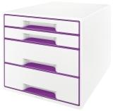 5213 Schubladenbox WOW CUBE - A4/C4. 4 geschlossene Schubladen. perlweiß/violett metallic