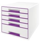 5214 Schubladenbox WOW CUBE - A4/C4. 5 geschlossene Schubladen. perlweiß/violett metallic