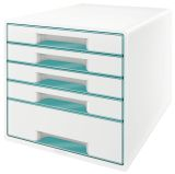 5214 Schubladenbox WOW CUBE - A4/C4. 5 geschlossene Schubladen. perlweiß/eisblau metallic