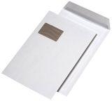 Papprückwandtaschen C4, mit Fenster, 120 g/qm, weiß, 125 Stück