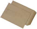 Versandtaschen C5, mit Fenster, gummiert, 90 g/qm, braun, 500 Stück