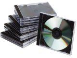 CD-Boxen Standard - Hardbox für 1 CD/DVD, transparent/schwarz, Packung mit 10 Stück