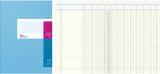 Spaltenbuch A4 in Kopfleisten-Ausführung - blauer Kartonumschlag, Schema über 2 Seiten, 10 Spalten, 40 Blatt