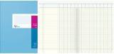 Spaltenbuch A4 in Kopfleisten-Ausführung - blauer Kartonumschlag, Schema über 2 Seiten, 13 Spalten, 40 Blatt