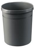 Papierkorb GRIP, 18 Liter, mit 2 Griffmulden, extra stabil, rund, dunkelgrau