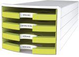 Schubladenbox IMPULS - A4/C4, 4 offene Schubladen, weiß/lemon