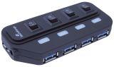 USB 3.0 Hub 1:4 mit seperaten Ein-/Aus-Schaltern und Netzteil
