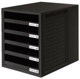 Schublabdenbox SCHRANK-SET - A4/C4, 5 offene Schubladen, schwarz
