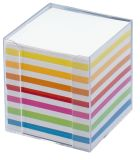 Notizbox glasklar - 9.5x9.5x9.5cm. Papier: weiß / bunt. ca. 700 Blatt