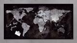 Glas-Magnetboard artverum® - Weltkugel, schwarz,  91 x 46 cm