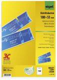 Eintrittskarten mit Abriss - bedruckbar, 180x 55 mm, 100 Stück auf A4 Bögen, weiß