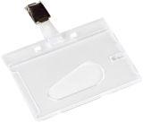 Ausweishülle mit Clip - 85 x 54 mm, Hartplastik, transparent, 10 Stück