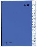 Pultordner Color-Einband - Tabe 1 - 31, 32 Fächer, Farbe blau