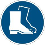 Bodenmarkierungssymbol  Fußschutz benutzen  - Ø 430 mm, abriebfest