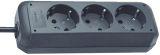 Steckdosenleiste - 3-fach ohne Schalter, schwarz