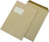 Versandtaschen C4 , mit Fenster, gummiert, 90 g/qm, braun, 250 Stück