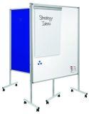 Multiboard XL Whiteboard/Flipchart - 150 x 120 cm, weiß/blau, mit Rollen